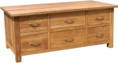 BROOKLYN OAK 6 DRAWER COFFEE TABLE