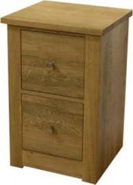 Torino 2 Drawer Narrow Oak Bedside Cabinet
