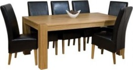 LARGE TREND OAK TABLE AND 8 LEATHER CHAIRS