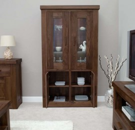 Walnut 2 Door Glass Display Unit